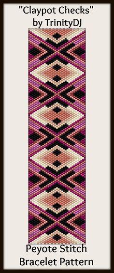 """""""Claypot Checks"""" - New peyote stitch bracelet pattern by TrinityDJ. Will be available soon."""