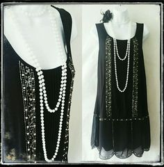 NEXT Vintage Black Deco Charleston Gatsby Sequin Flapper Tunic Dress 12 40 Vintage Outfits, Vintage Dresses, Vintage Clothing, 1920s Fashion Gatsby, 20s Mode, Style Année 20, Gatsby Themed Party, Flapper Headband, Photography Women