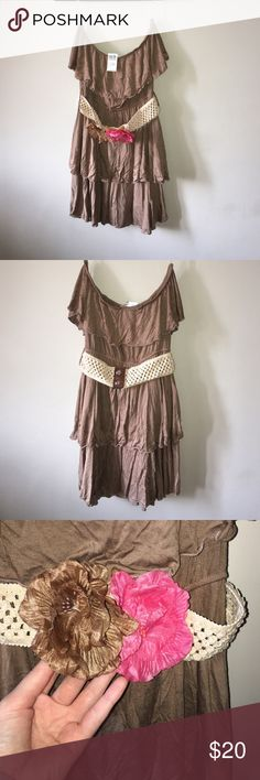 Brown strapless dress Never been worn! Brown dress with removable flowered belt Poetry Dresses Mini