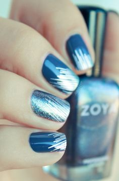 French navy blue nails with fine silver threads