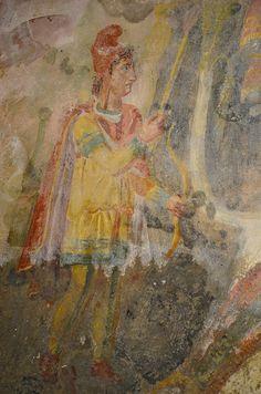 Tauroctony fresco in the mithraeum of Capua, detail of the torchbearer Cautes, 2nd century (CIMRM 181), Mithraeum (mitreo), Ancient Capua