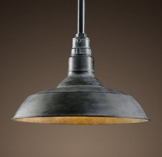 VINTAGE BARN PENDANT WEATHERED ZINC. A reproduction of an enamel pendant that's been a fixture – literally – in barns across the country for the last century, this design classic deserves to be brought indoors. We preserved the functional design, and gave it a new look in a variety of finishes.