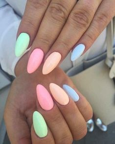 40 Spring Pastel Nails To Try This Year Colorful Nail Designs, Simple Nail Designs, Nail Art Designs, Nails Design, Colorful Nails, Design Art, Multicolored Nails, Acrylic Nail Designs, Artwork Design