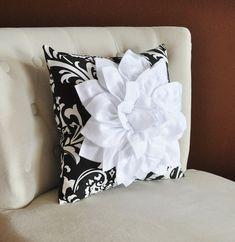White Dahlia Flower on Black and White Damask Pillow Accent Pillow Throw Pillow Toss Pillow Decorative Pillow on Etsy, $35.00