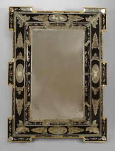 2 Italian Layered Glass Wall Mirrors with Neoclassical Designs image 2