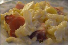 Gratin de chou fleur pommes de terre et jambon cru