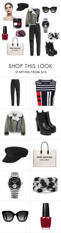 """""""Untitled #439"""" by gloriatovizi on Polyvore featuring RE/DONE, Nasty Gal, Yves Saint Laurent, Raymond Weil, Effy Jewelry and Gucci"""
