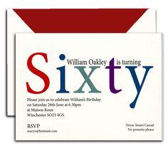 Peronalised 60th Birthday Invitations from Heritage Personalised Stationery UK