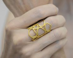 Gold geometric ring with freshwater pearl Statement ring