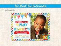 Brawny Stripes Bounce House Boys Birthday by MyExpressionInvites