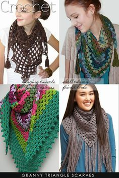 Half granny scarves to crochet | add yarn taasels or learn how to make beaded ones | DiaryofaCreativeFanatic. My daughter likes triangle scarves