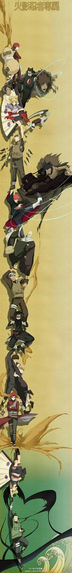 Sand ninja, Sand Siblings, Gaara, Temari, Kankuro, Baki, Sasori, Shikamaru, elders, Chiyo; Naruto