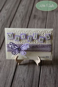 Biglietto per Battesimo Bimba con Farfalla - Handmade Card for Baby with Butterfly Explosion Box, Pretty Cards, Big Shot, Greeting Cards Handmade, Diy Cards, Cardmaking, Stampin Up, Origami, Birthday Cards
