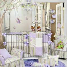 Viola is a beautifully embellished floral design in shades of lavender, wisteria, frost and snow. Fabrics include diamond matelasse, sumptuous velvet, and cotton prints. Rich tri-color cording and whimsical pom poms are used as trim throughout the collection. Pretty bows along the bumper are made from wide grosgrain ribbon to add color and dimension to outside of crib.
