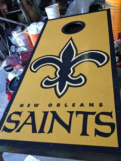Hand made birthday present for the boyfriend. New Orleans Saints cornhole boards. #neworleans #saints #cornhole #birthday