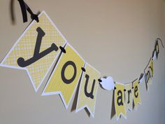 You Are My Sunshine Banner  Gray and Yellow  by NaptimePaperCrafts, $20.00