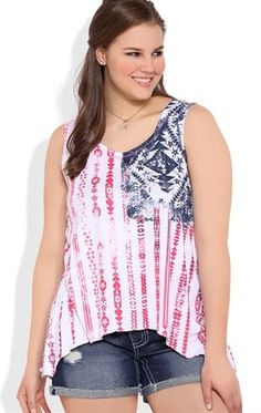 plus size tunic tank with twist back and american flag eagle