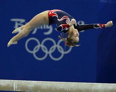 Shawn Johnson on beam in the beijing olympics 2008.
