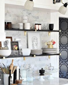 Black gold marble and glam kitchen makeover reveal with open shelving brass brackets black and gold accordion lamps carrara marble and feminine touches. Kitchen Ikea, Kitchen Shelves, New Kitchen, Kitchen Storage, Country Kitchen, Vintage Kitchen, Kitchen Cabinets, Kitchen Drawers, Kitchen Small
