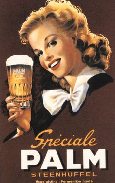 Vintage ad- Palm - Spéciale Belge is a Belgian beer style. Most famous brands are Palm and De Koninck. Belgian breweries developed this beer style to compete with the cheap pilsner beers that started to be imported around 1900.