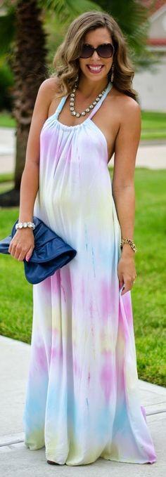 White Multi Tie-dye Halter Maxi Dress