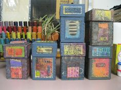 New boxes from LIberty Paper. Handmade Paper, Stitching, Wax Resist.  © 2015 Claudia Lee  https://claudialeepaper.com