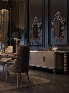 Best Modern House Design, Contemporary Interior Design, Dream Home Design, Dining Room Blue, Dining Room Design, Home Decor Bedroom, Living Room Decor, Luxury Homes Interior, Luxurious Bedrooms