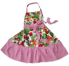 JOLANDA - knackig frisches Design - Schürze mit Gemüse-Print, Tasche, lange Bänder, flexibles Nackenband, liebevoller Rüschenvolant, hinreissend schön, HIER