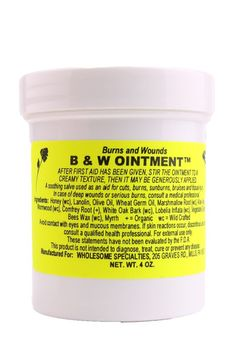 B&W ointment uses all natural ingredients to help soft tissue heal faster. Studies have shown B&W Ointment to be an effective treatment for burns and soft tissue injuries. Cocunut Oil, First Aid Kit Contents, Soft Tissue Injury, Container Prices, Alternative Treatments, Wound Healing, Survival Prepping, Body Care, Burns
