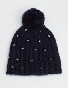 Jewelled Knit Pom Pom Beanie #hat #navy https://www.etsy.com/shop/ElectricTurtles