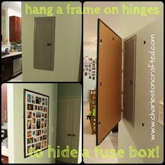 turn the fuse box cover into a chalkboard! i saw this today in an House Fuse Box how to hide a fuse box by hanging