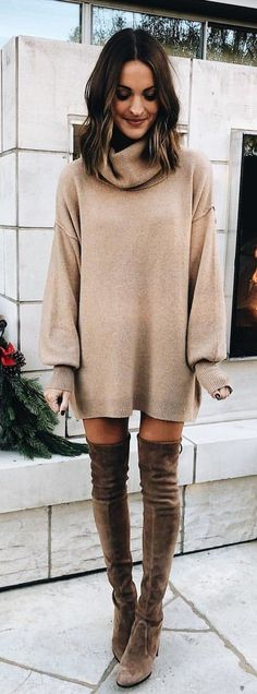 #winter #outfits brown cowl-neckline long-sleeved mini dress with brown knee-high boots