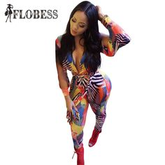 66ec929931b New 2017 Women Fashion Printed Skinny Jumpsuits Sexy Deep V-Neck Long  Sleeves Night Club