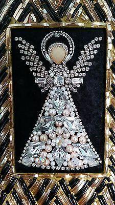 VINTAGE Framed COSTUME JEWELRY Rhinestone ANGEL Christmas Tree ART By  Michelle! Jewelry Christmas Tree, 607325d4f2