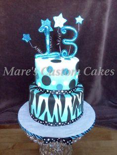 Glittery 13th birthday cake