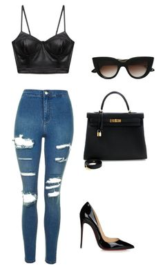 """""""Untitled #30"""" by pvjennifer on Polyvore featuring E L L E R Y, Topshop, Forever 21, Christian Louboutin and Hermès"""