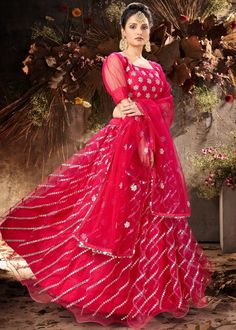 #pink #mirror #embellished #net #lehenga #choli #designs # traditional #indian #outfits #gorgeous #wedding #look #ootd #new #arrival #womenswear #online #shopping Net Lehenga, Lehenga Choli, Anarkali, Choli Designs, Party Wear Lehenga, Pink Mirror, Pink Color, Enchanted, Hot Pink