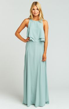 Princess Di Stretch Maxi Skirt ~ Silver Sage Crisp *Matching King Crop Top Sold Separately *MADE IN THE GORGE USA* Poly *Zipper on side *Lined to the ground *Basically Wrinkle-proof. Throw in purse for later recommended. Silver Sage, Boutique Fashion, Green Bridesmaid Dresses, Collar Dress, Evening Gowns, Boho Chic, Marie, Ball Gowns, Gypsy