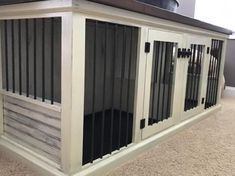 Tired of an ugly metal dog kennel taking up space? We have the solution. Our Dog Kennel is a functional piece of furniture. Metal Dog Kennel, Dog Kennel Cover, Diy Dog Kennel, Kennel Ideas, Indoor Dog Kennels, Halle, Airline Pet Carrier, Niches, Dog Cages