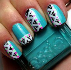Tribal Neon - nail design