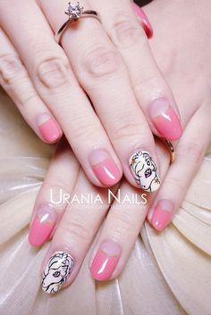 pink unicorn nail art