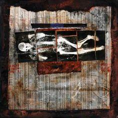 """Bones,"" digital print by Dot Krause. Wanted Ads, Birth And Death, Printmaking, Illusions, Bones, Digital Prints, Fine Art Prints, Paper Bags, Brown Paper"
