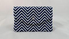 Blue & White Chevron Wristlet  Envelope Clutch  by DemiChicDesign