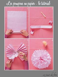 Martha Stewart Tutorial how to do paper pompom DIY