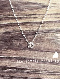 SALE - Sterling Silver Two Tiny Heart Necklace - Modern Dainty Minimal Simple Necklace - Cute Gift - morganprather on Etsy, $23.00