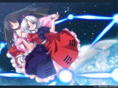 Kaguya and Erin dancing far above the Earth.