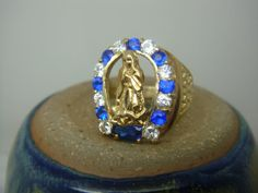 Vintage 10K White and Blue Sapphire Our Lady of by citysilkex, $425.00