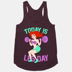 Today Is Leg Day (squat) | HUMAN | T-Shirts, Tanks, Sweatshirts and Hoodies. Women's racer back, the red color(maroon) at the end, size small