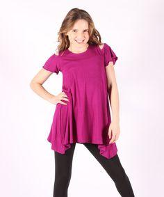 Loving this Magenta Cold-Shoulder Tunic - Girls on #zulily! #zulilyfinds