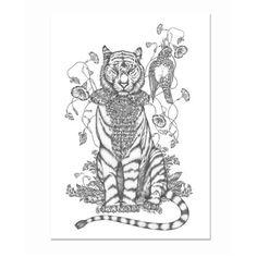 Emma Fällman Print, Tiger.  29,7x42cm
